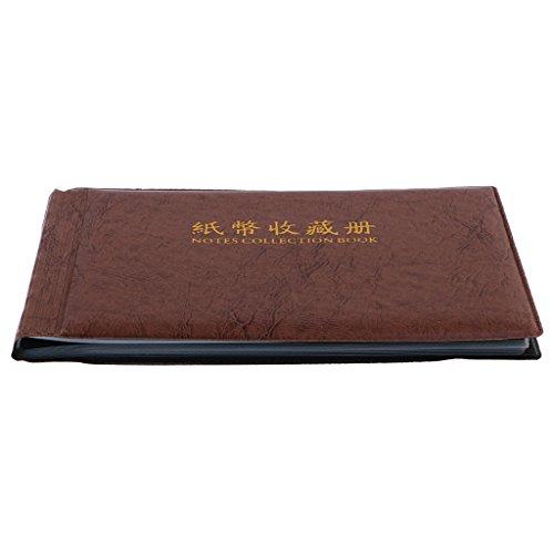 MagiDeal Raccoglitore Per Collezione Di Monete Valuta Libri Album Monete Storage Copertina PU 30 Pagine - Marrone