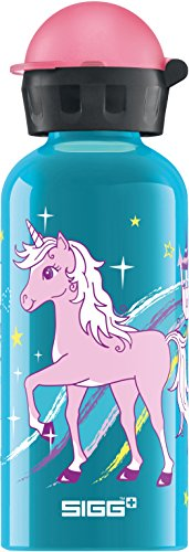 SIGG Bella Unicorn, Kinder Trinkflasche, 0.4 L Auslaufsicher, BPA Frei, Aluminium, Blau