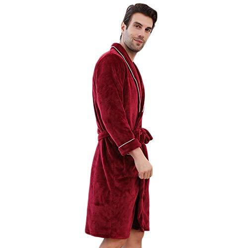 MWbetsy Bademantel Unisex Frottier Morgenmantel verdicken Haus Kleid Nachtwäsche Herren Soft-Pyjamas Paar Lounge Bademantel Large Size Nachtwäsche,Rot,XL