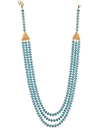 Ganapathy Gems Beads Jewellery Sky Blue Crystal Multi-Strand Necklace For Women (12481)