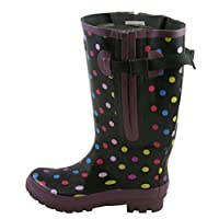 Jileon Extra Wide Calf Polka Dot Wellies - up to 57cm Calf (5)