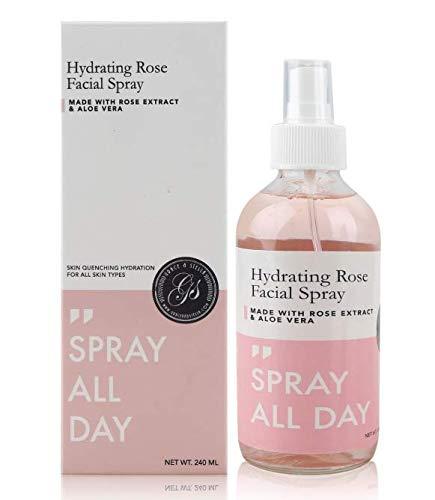 Rosenwasser Spray 240ml Glasflasche gesichtswasser | Rosenwasser Gesichtswasser | Feuchtigkeitsspendend & feuchtigkeitsspendend - gesichtsspray Einstellungsspray für makeup - Make-up Gesicht Zu Glühen