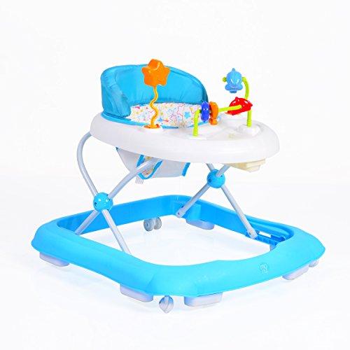 Lauflernwagen, Laufhilfe Eko höhenverstellbar, gepolsteter Sitz und Spielcenter (Blau)