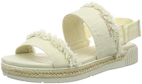 Calvin Klein Jeans Damen Muriel Fringe Canvas Offene Sandalen mit Keilabsatz, Elfenbein (Ofw), 38 EU