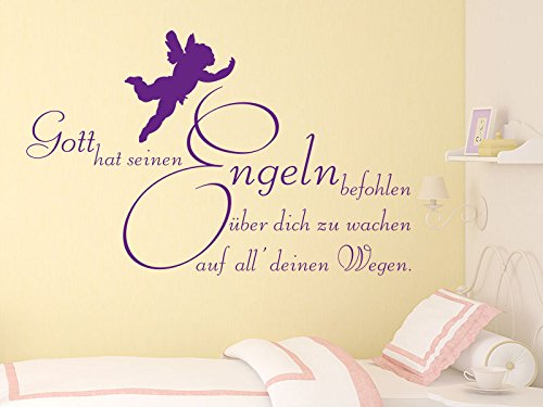 KLEBEHELD® Wandtattoo Gott hat seinen Engeln befohlen über dich zu wachen auf all deinen Wegen.