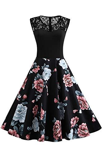 Axoe Damen Spitzenkleid 50er Jahre Vintage Audrey Hepburn Kleid Schwarz Grosse Grösse 46