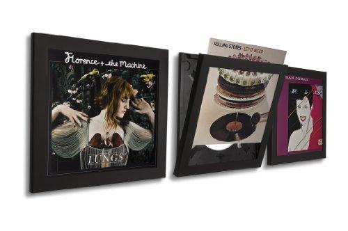 Art Vinyl Play & Display Schallplattenrahmen 3er-Set, schwarz