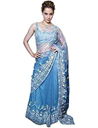 Swara Fashion Women's Nylon Net Thread Work Saree(SFPBT-189_Blue)