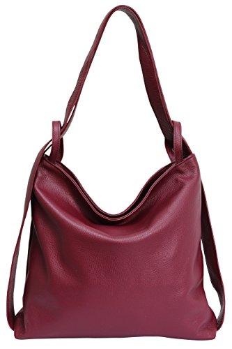 AmbraModa Italienische Ledertasche, 2 in 1 Damenrucksack Daypack Schultertasche Damen Handtasche Beutel GL019 (Gelb)