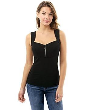 Landfox Camiseta Sin Mangas con Cremallera Casual Para Mujer Camiseta Sin Mangas Sin Mangas con Cuello EN V Blusa