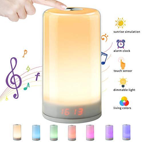 NGOZI Wake-Up Light,Lampada Notturna per Camere e Salotti,3 Livelli Luminosità,7 Colori di LED e 5 Suoni Naturali Multicolore Luce notturna Controlli Touch