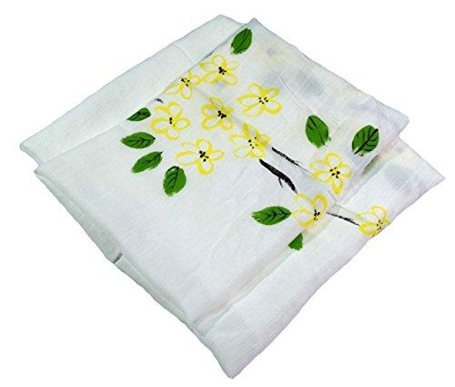 Weiß Blumendruck Sehr Großer Druck Von Hand Bemalt Leinen Und Baumwolle Mischung Schal (Von Baumwoll-leinen Bemalt, Hand)