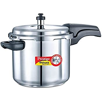 Prestige Deluxe Alpha Stainless Steel Pressure Cooker, 5.5 litres, Silver