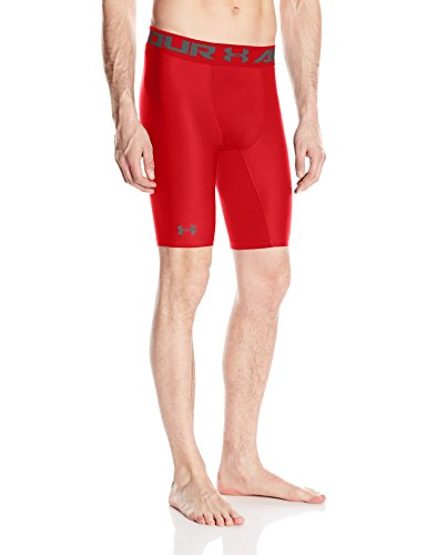 Under Armour HG Armour 2.0 Long Short Pantalones Cortos Deportivos, Hombre, Rojo (Red), XL