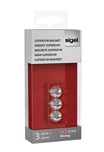 SIGEL GL702 SuperDym-Magnete Kugel XL silber, Ø 1,3 cm, 3er-Set für Glas-Magnettafeln - viele Designs/Stückzahlen