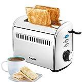 Aicok Toaster Edelstahl, 2 Scheiben Kleine Toaster, 950W MAX, Extra Breiter Schlitz (4cm), 7 Bräunungsstufen, Auftau- und Aufknusperfunktion, Herausnehmbare Krümelschublade
