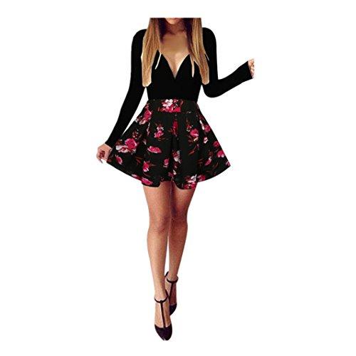 Blume Besonderen Anlass Kleid (hansee Damen Figurbetont Cocktail Deep V-Neck Kleid Damen Abend Party Kleid, damen, schwarz)