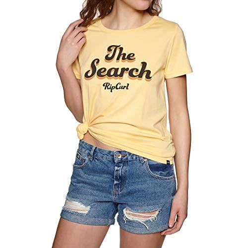 Rip Curl Keep Searching Damen,T-Shirt,Short Sleeve Tee,Kurze Ärmel,Rundausschnitt,Mustard,M -