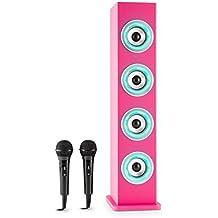 auna Karaboom Cassa Karaoke a torre con sistema bluetooth e connessione USB (4 altoparlanti, AUX, Radio FM, 2 microfoni) -