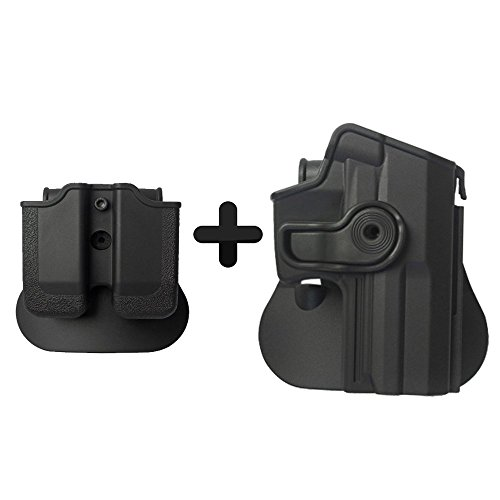 IMI Defense Best Tactical Combo Roto Retention Polymer Paddle Holster + Double Mag Pouch For H&K USP Full-Size (9mm/.40) -
