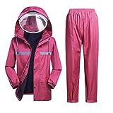Regenmantel Regenmantel-Regenhosenanzug, Regenmantel-Regenhose for Herren und Damen, Ganzkörper-Reitponchojacke (Color : Pink, Size : XL)