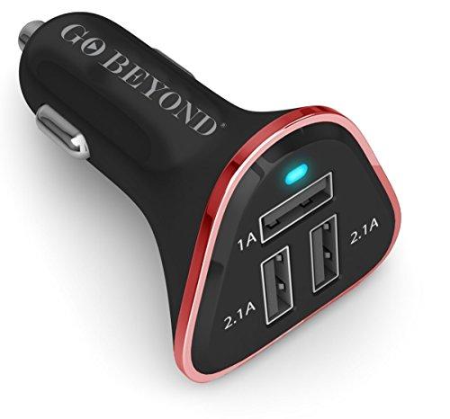 Il numero 1 per recensioni di Go Beyond (TM), caricabatterie da auto universale a 3 porte USB smart ad alta velocità, 5.2A 30W, per caricare 3 dispositivi a piena velocità con funzione di condivisione smart IC