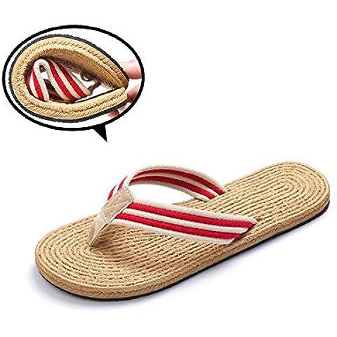 flip-folps Zapatillas unisexnon-slip doble EVA Tread calzado algodón Oxford correa de rayas tanga abierto Tot interior y exterior sandalias zapatos suela de goma fresco estilo mediterráneo Casual Wear pantofle, rojo,