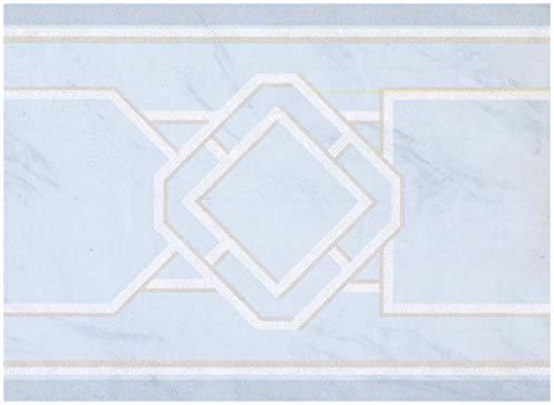 York Vorpastiertes Wallpaper Border - Abstrakt Arctic Blue Wall Border Retro Design,Rollen 15 ft x 9 in. 9