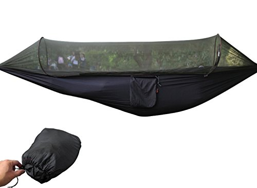 Ultra Leicht Hängematte Set Mit Moskitonetz aus Fallschirm Nylon 290x145cm Outdoor Reise Camping Garten Trekking Strand Travel Hammock mit Tragetasche Belastbarkeit bis 200kg