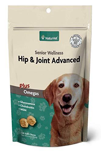 NaturVet Senior Wellness Hip & Joint Advanced Plus Omega für Hunde, 120ct Soft Kaubonbons, Made in USA -