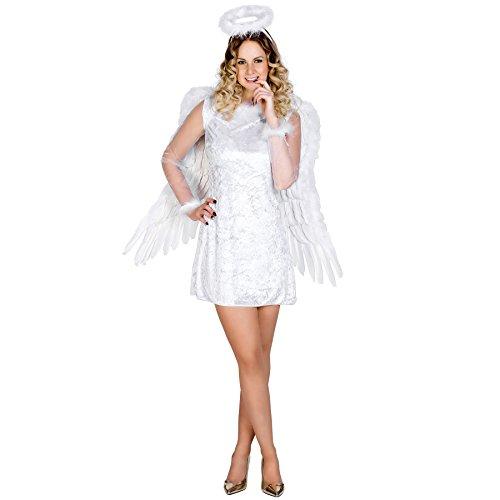 Frauenkostüm sexy Himmelsbotin | Kurzes, figurbetontes Kleid | Wundervolle Tüllärmel | Flauschiger Heiligenschein (M | Nr. 300247) (Weihnachtsfeier Kostüm Ideen Für Erwachsene)