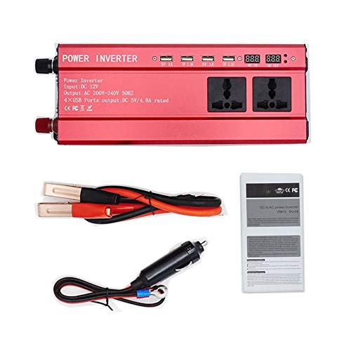 ARDUTE Portable 2000W Power Auto Fahrzeug Wechselrichter mit LCD-Display 12V-220V Automotive Converter Netzteil 4 USB-Ports -