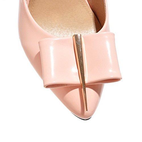 AllhqFashion Femme Stylet Couleur Unie Pointu Tire Chaussures Légeres Rose