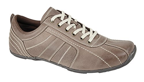 New Mens Real Leather Casual Lace Up Comfort Fit Trainer Sport Shoes Size, [TAUPE BROWN], [UK 8 / EU 42]