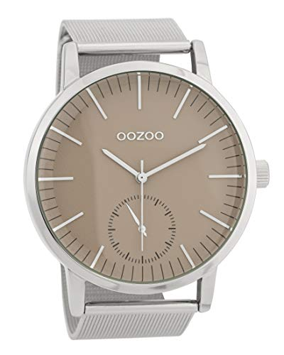 Oozoo Herrenuhr mit Metallband 48 MM Braun/Silberfarben C9621