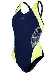 50f578fcc Speedo Fit Splice Muscleback Bañador de Espalda Abierta, Mujer, Azul (Navy  / Lime