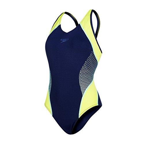 Speedo Fit Splice Muscleback Bañador de Espalda Abierta, Mujer, Azul (Navy / Lime Punch / Spearmint), 34