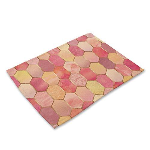 ZCHPDD Baumwolle Leinen Westlichen Essen Matte Farbe Geometrischen Druck N 42 * 32Cm * 6St -