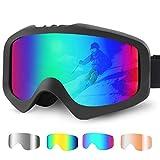 T98 Skibrille, Snowboardbrille Anti Fog 100% UV400 Schutz Schutzbrille mit Double Lens Schaumstoffpolsterung für Schneemobil, Skifahren oder Skaten Ski Goggles für Damen&Herren&Jugendliche (Grün)