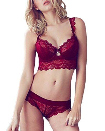 ZANZEA Damen Spitze V Push Up BH Bra Büstenhalter Unterwäsche Lingerie Panty Dessous Sets Red 80B