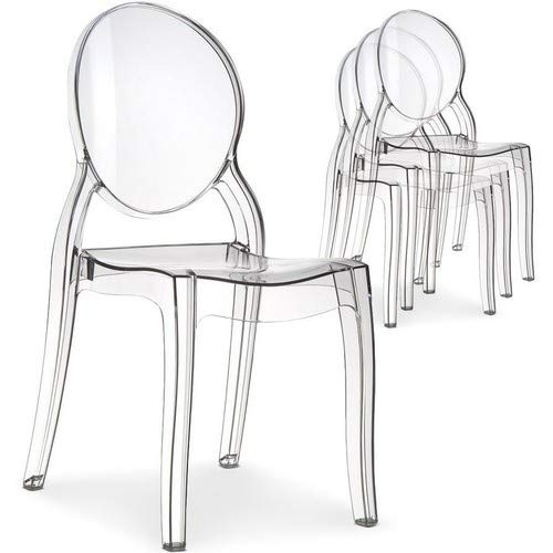 Menzzo Lot de 4 chaises Diva Plexi Transparent
