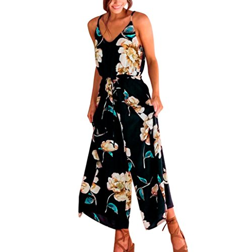 Hmeng Womens J Womens Jumpsuits Blumendruck Schulterfrei❤️ Strampler Lässig Liebsten Breites Bein Hose Overall Strappy Floral Sling Lange Hosen Playsuits Jumpsuit StramplerS/M / L/XL (Schwarz, XL) -