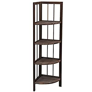 4 Tier Fordable Pine Wooden Corner Shelf Storage Unit Bathroom Living Room Shelves Rack Brown