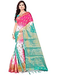 Riva Enterprise Women's Banarasi Zari Wowen Pallu And Border Saree With Woven Blouse
