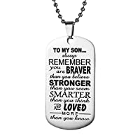 To My Son Dog Tag Necklace Mens Boys Necklace Pendant Accessories