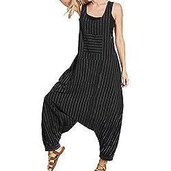VECDY Combinaison Pantalon Femme Nouveau Produit D'été Jumpsuit Poche Décontracté Ample Décontracté à Rayures en Vrac pour Femmes(Noir,XL)