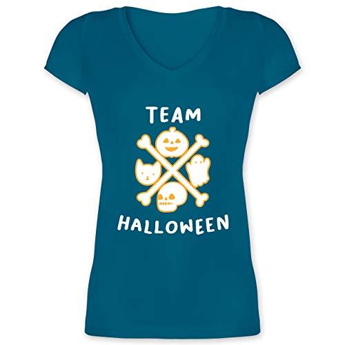 Halloween - Team Halloween - S - Türkis - XO1525 - Damen T-Shirt mit V-Ausschnitt