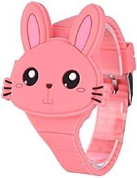 Reloj Infantil Digital Electrónico Niña Chica de Silicona de Moda Dibujos Animados Animal LED Pantalla Reloj de Pulsera