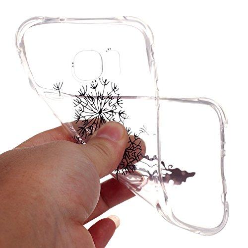 Cuitan Bronzing Transparent TPU Weiche Hülle Schutzhülle für Apple iPhone 7, Modisch Muster Serie Durchsichtig Rück Abdeckung Back Cover Case Handytasche Rückseite Tasche Handyhülle für iPhone 7 - Sch Löwenzahn