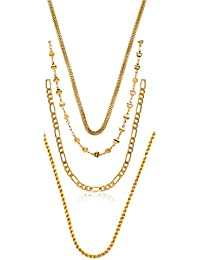 Charms Combo of Four Gold Plated Chains for Boys & Men